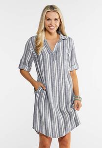 Plus Size Linen Striped Shirt Dress