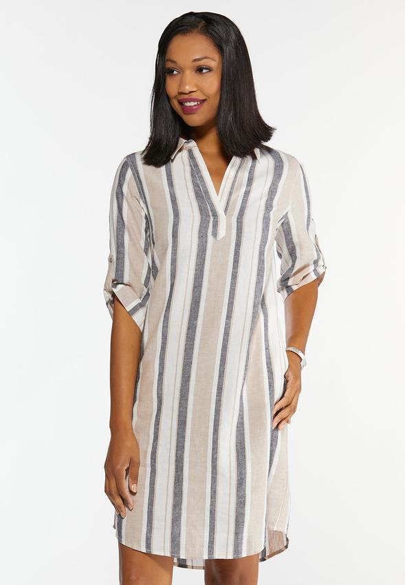 Plus Size Linen Striped Shirt Dress Plus Sizes Cato Fashions