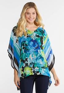 Plus Size Botanical Stripe Capelet