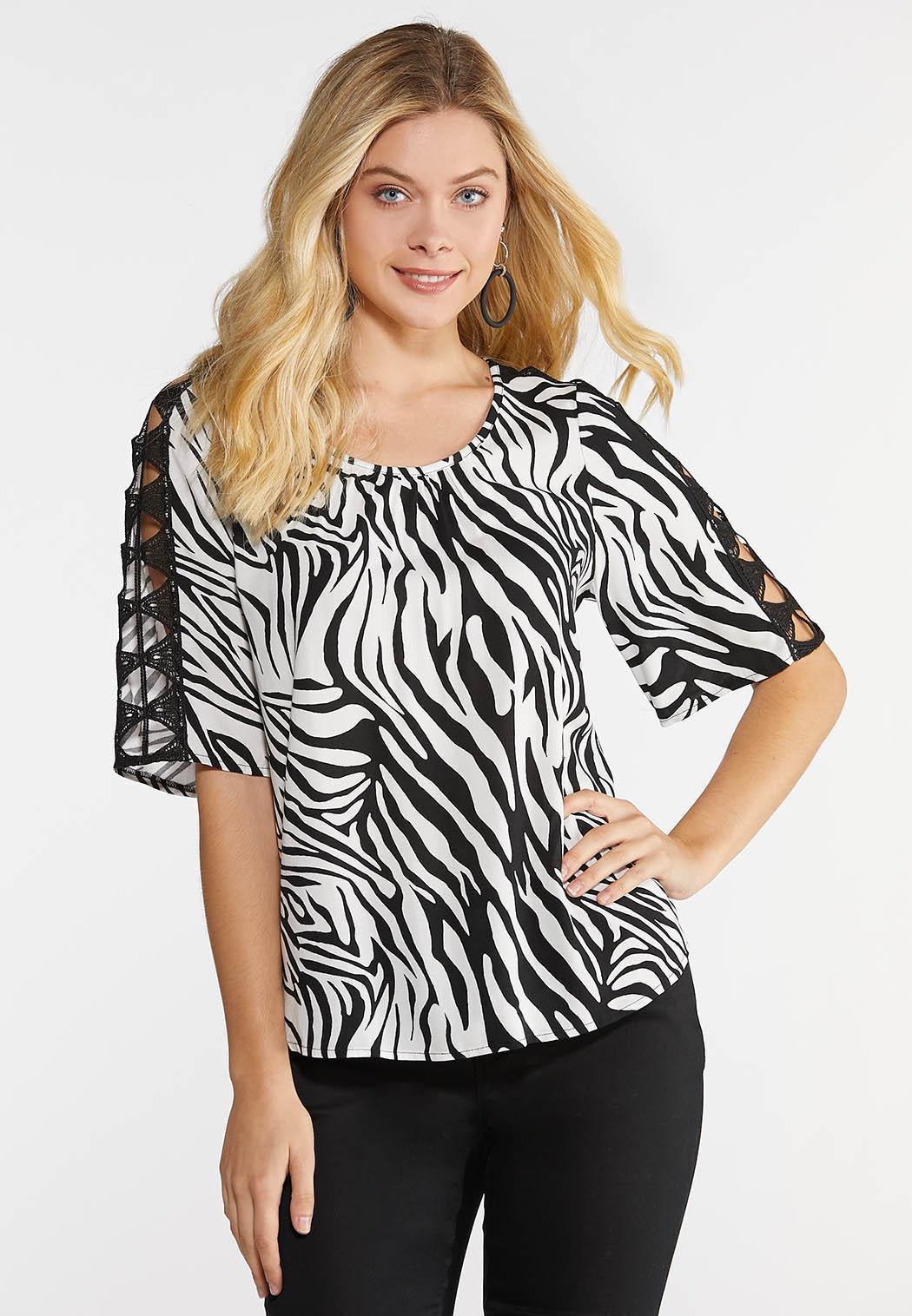 Zebra Crochet Slit Sleeve Top