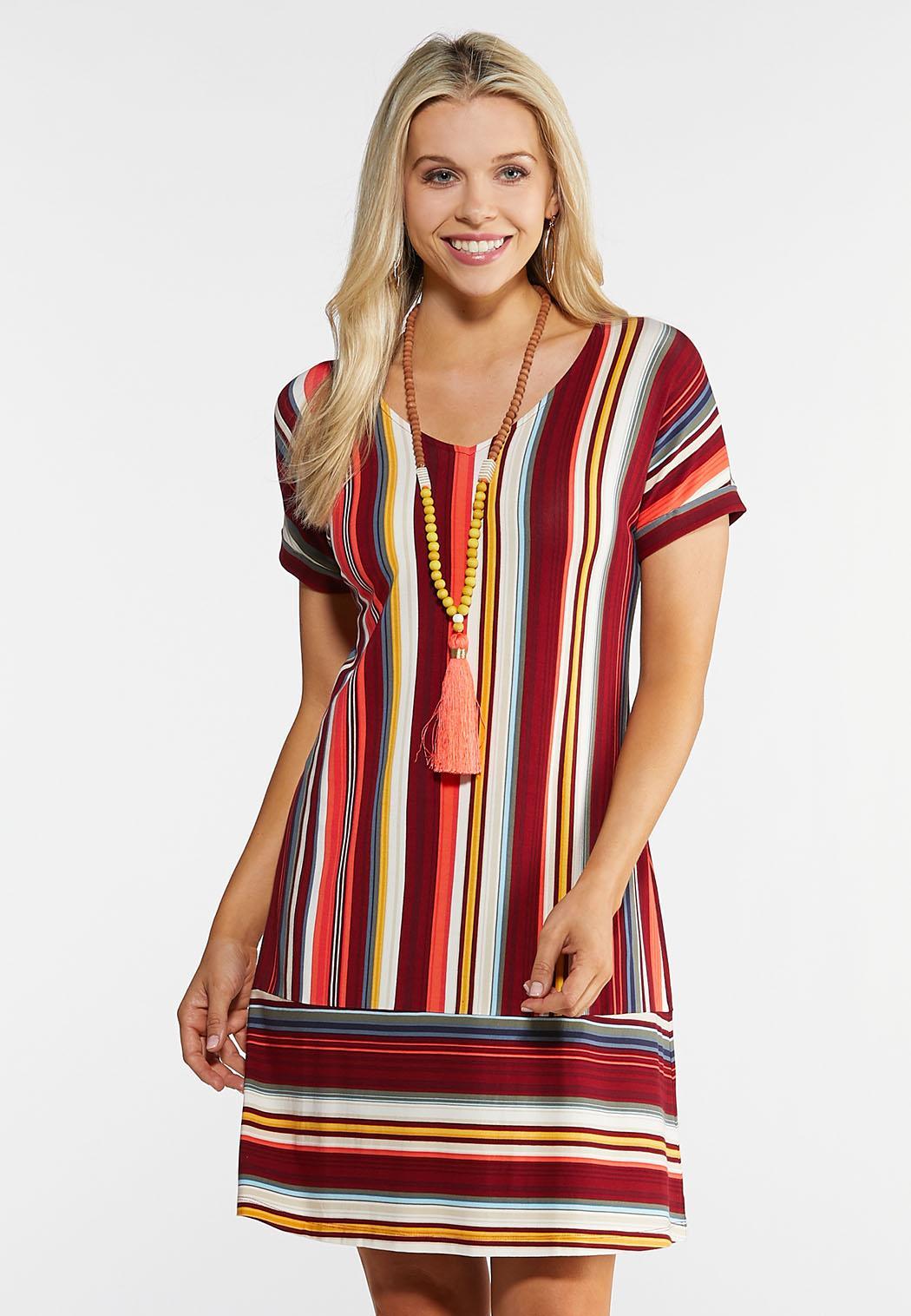 Plus Size Striped Panel Hem Dress