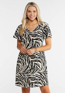 Plus Size Zebra Print Swing Dress