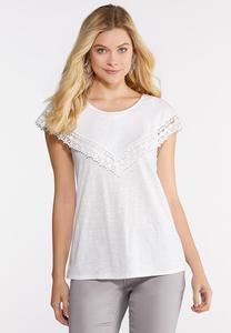 Plus Size Lace Trim Bib Top
