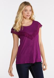 Plus Size Lace Trim Bib Top