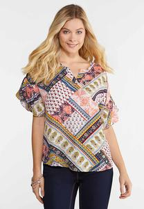 Plus Size Ruffle Sleeve Mixed Print Top