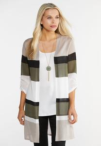 Plus Size Colorblock Roll Tab Cardigan