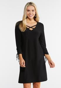 Plus Size Ruched Tied Sleeve Dress