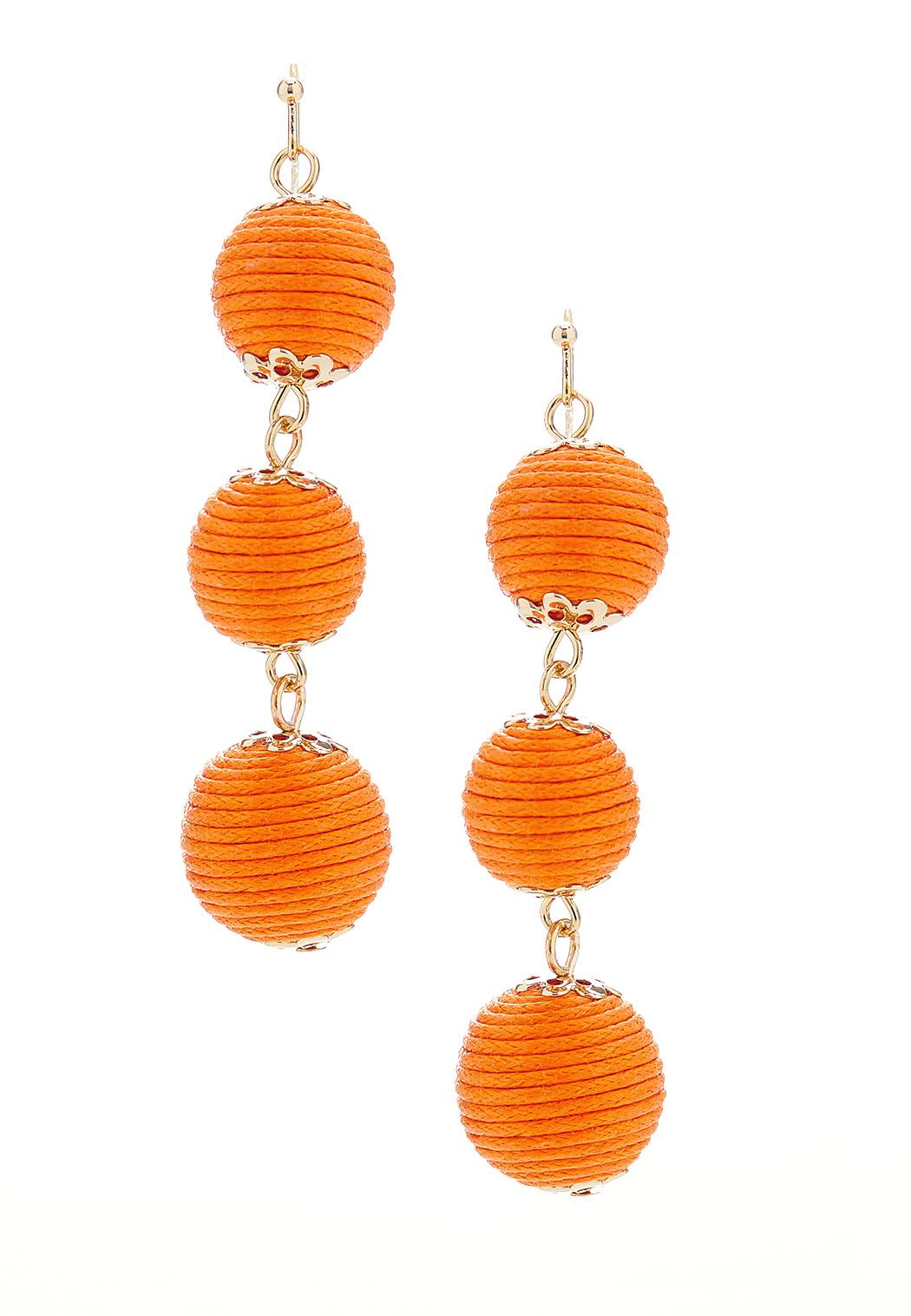 Thread Wrapped Linear Ball Earrings