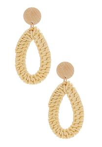 Woven Straw Dangle Earrings