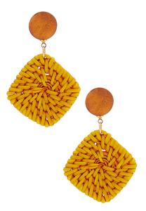Woven Straw Square Earrings