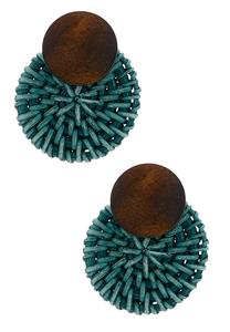 Woven Disc Statement Earrings