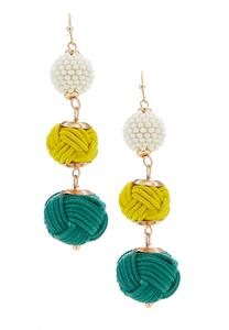 Knot Ball Linear Earrings
