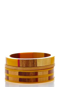 Chunky Wood Bracelet Set