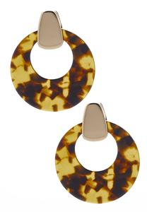Marbled Lucite Circle Earrings
