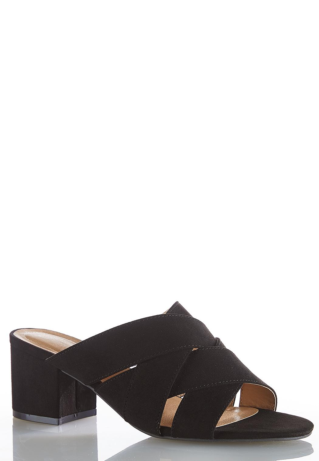 Crossover Band Heeled Mules