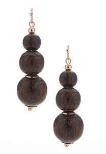 Tiered Wooden Bead Earrings