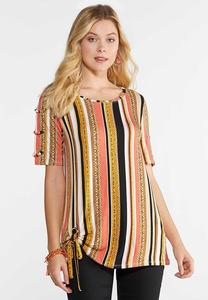 Plus Size Grommet Sleeve Printed Top