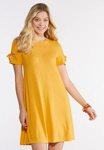 Plus Size Tie Sleeve Swing Dress