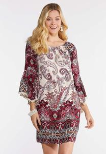 Plus Size Crochet Trim Peasant Dress