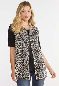 Plus Size Knit Leopard Vest