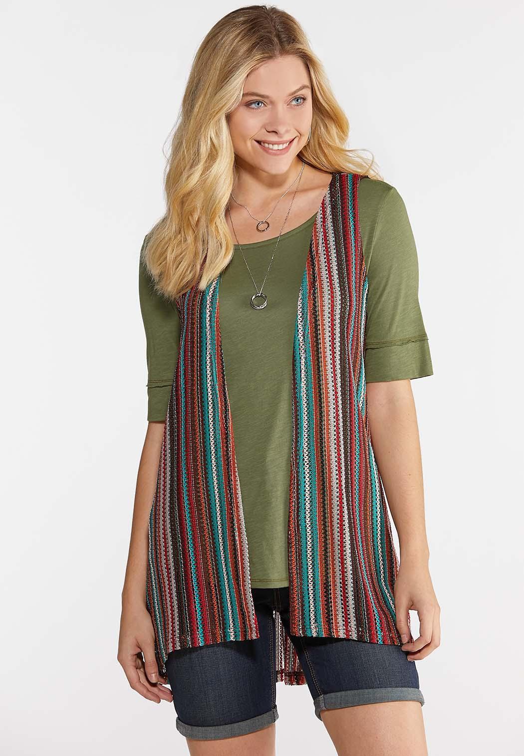 Plus Size Multi Stripe Pocket Vest