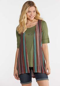 Plus Size Multi Stripe Pocket Vest