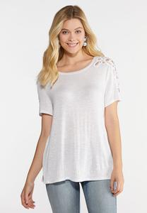 Plus Size Crochet Shoulder Tee
