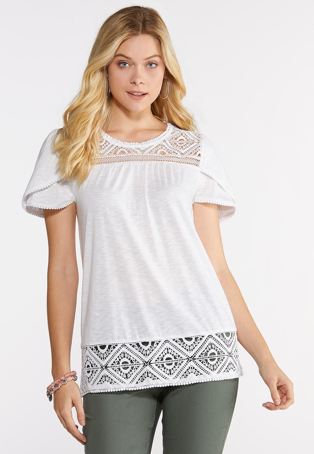 Plus Size Crochet Tulip Sleeve Tee