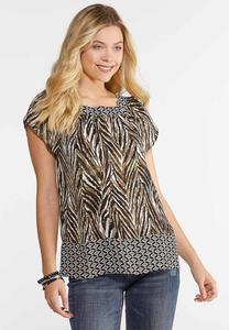 Square Neck Printed Top