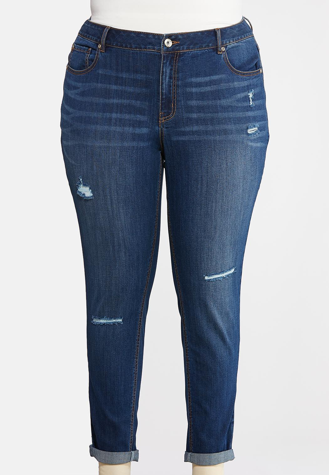 Plus Size Dark Distressed Jeans Denim Cato Fashions