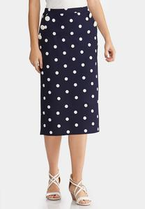 Plus Size Polka Dot Pencil Skirt
