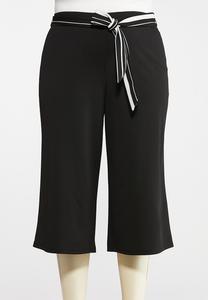 Plus Size Cropped Stripe Tie Pants