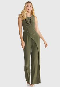 Plus Size Wrap Tie Waist Jumpsuit