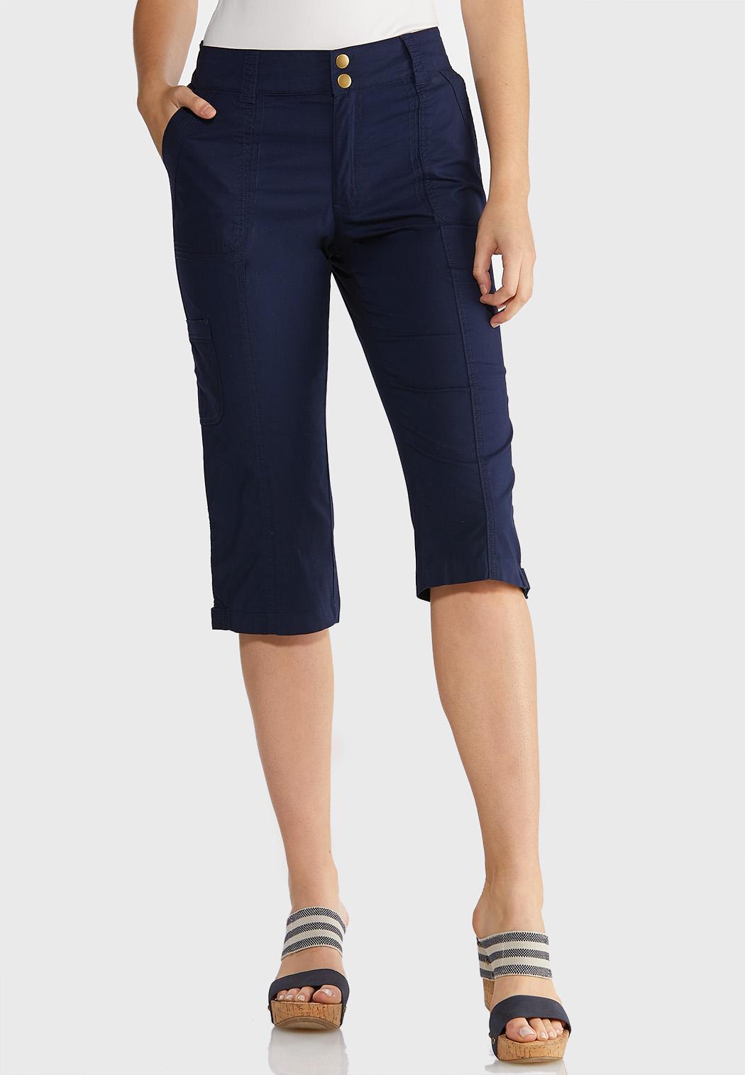 Poplin Cargo Cropped Pants