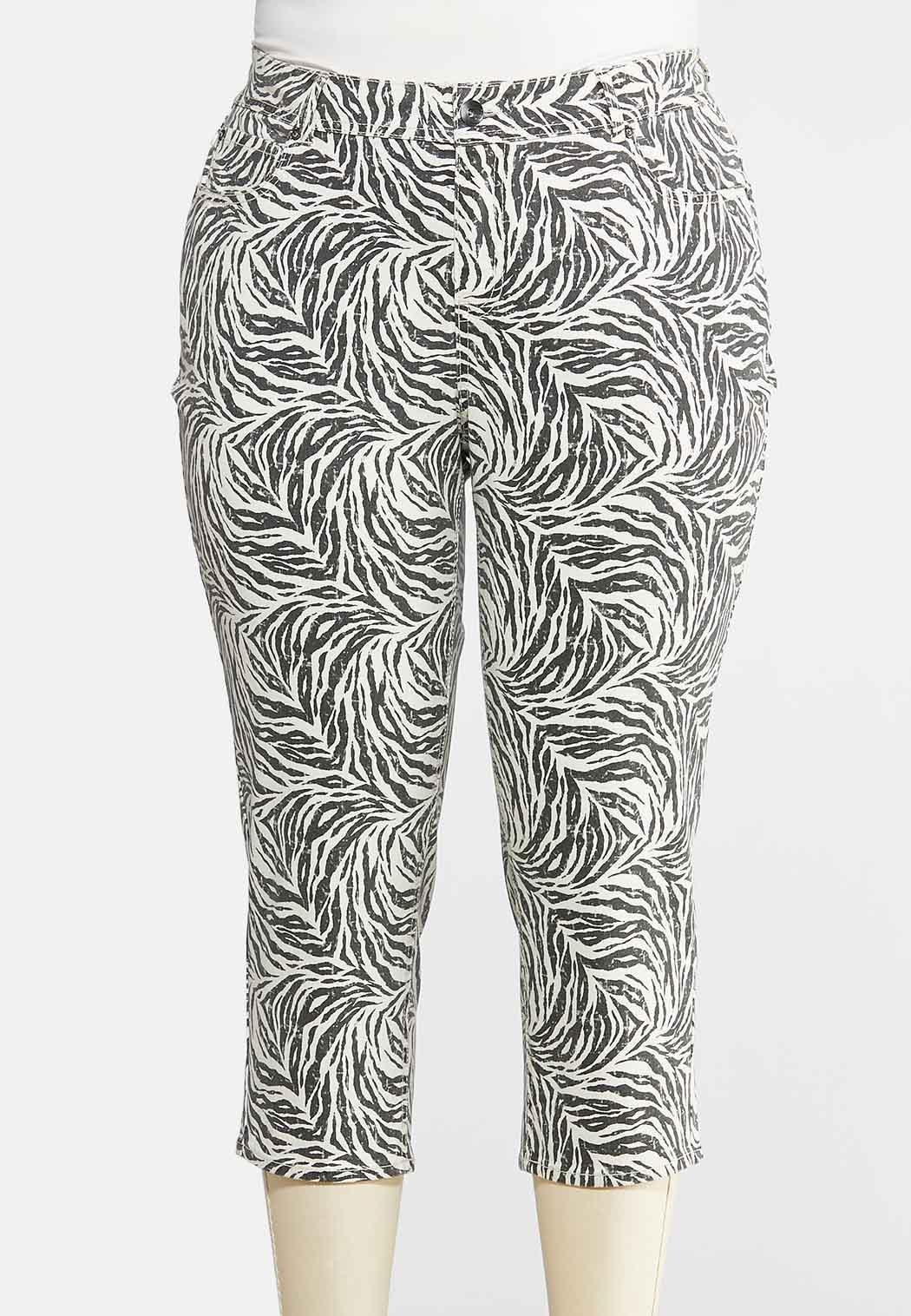 Plus Size Cropped Zebra Print Pants