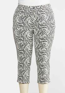 Plus Size Cropped Zebra Print Pants