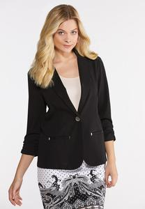 Plus Size Ruched Hardware Blazer