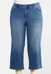 Plus Size Wide Leg Cropped Jeans