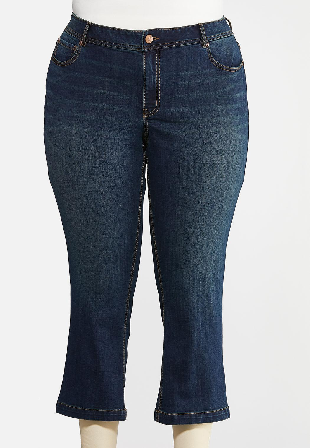 Plus Petite Dark Wash Kick Flare Denim