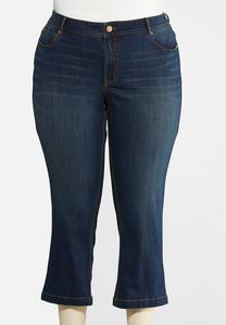 Plus Petite Curvy Dark Wash Kick Flare Denim