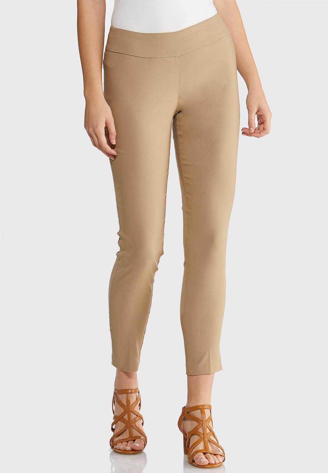 Pull-On Solid Slim Pants