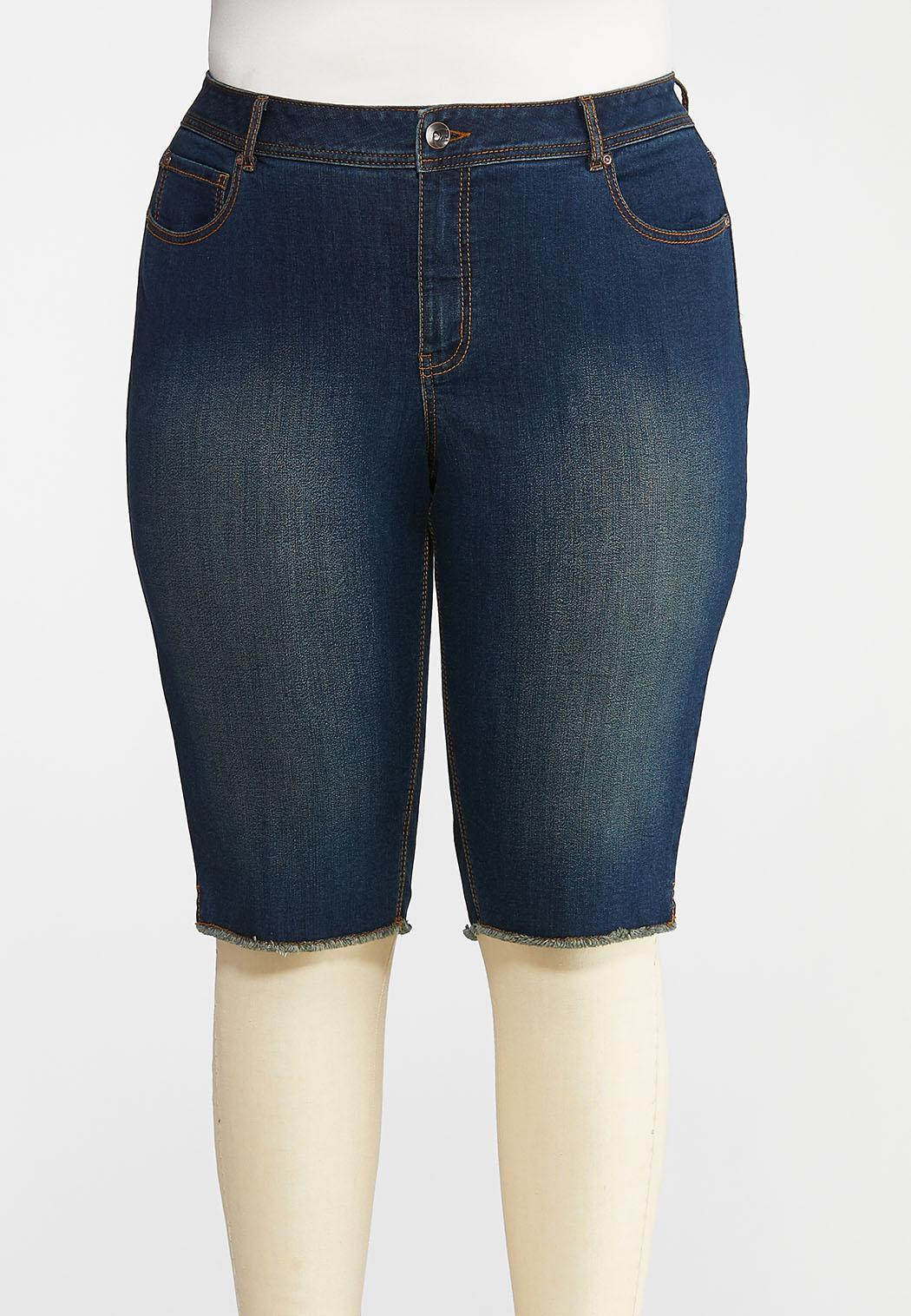 Plus Size Dark Raw Hem Bermuda Shorts