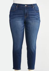 Plus Size Dark Wash Skinny Ankle Jeans