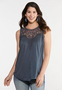 Plus Size Lace Yoke Swing Tank