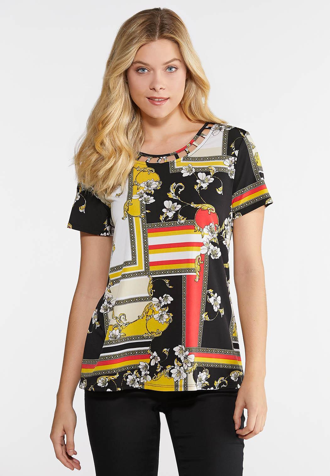 f35c2421d5ff44 Plus Size Mixed Print Lattice Top Tees & Knit Tops Cato Fashions