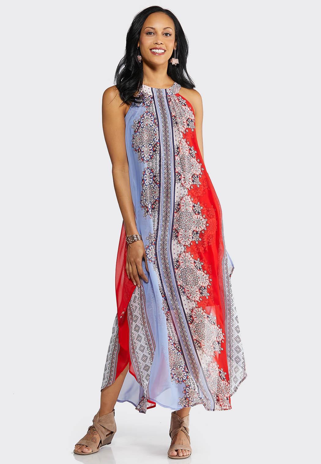 Plus Size Medallion Print Flyaway Maxi Dress
