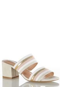 Wide Width Striped Band Heeled Slides
