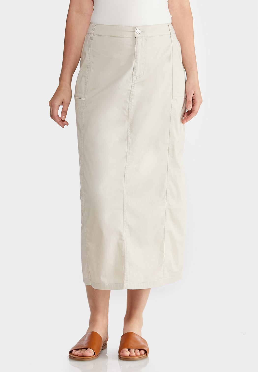 Plus Size Cargo Khaki Skirt
