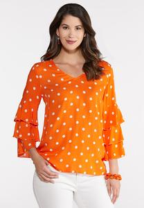 Plus Size Polka Dot Ruffled Sleeve Top
