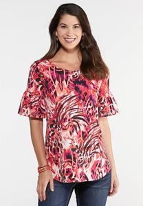 Plus Size Grommet Ruffle Sleeve Printed Top